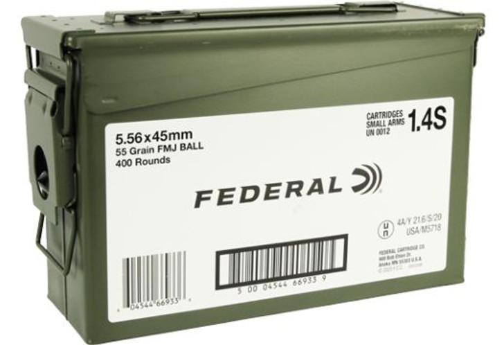 FEDERAL AMMO AE TACTICAL 5.56 X 45MM 55 GRAIN FMJ-BT 400 ROUND AMMO CAN XM193ML1X