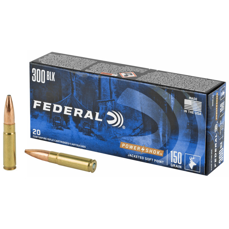 Federal Power-Shok 150 gr Jacketed Soft Point .300 Blackout Ammo, 20/box 300BLKB