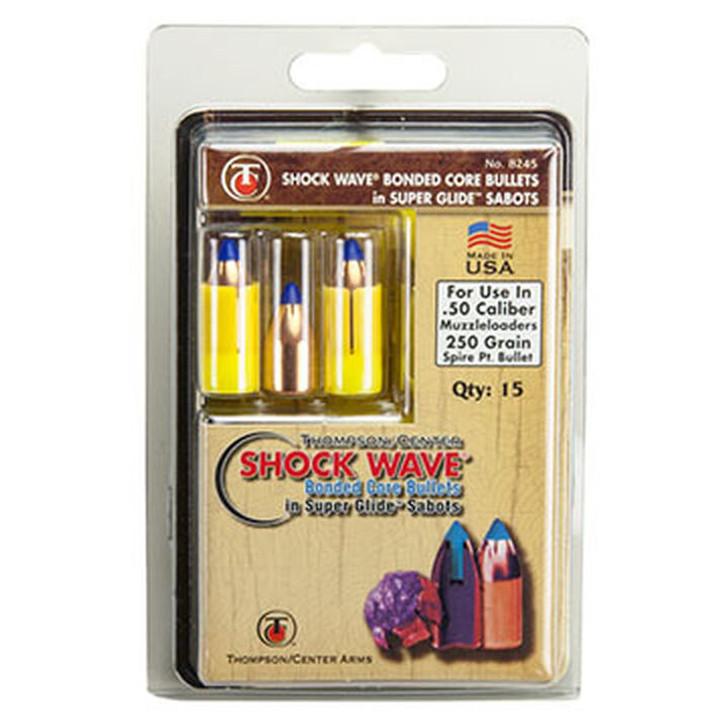 Thompson/Center .50 Caliber Bonded Shock Wave Bullets w/ Super Glide Sabots 250 Grain 17008245