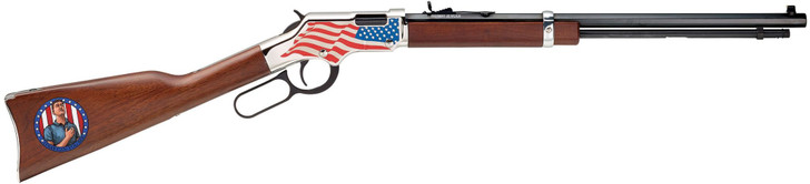 """Henry Stand for the Flag Lever Action Rimfire Rifle 22 Long Rifle 20"""" Barrel Blued and American Walnut H004SFF"""