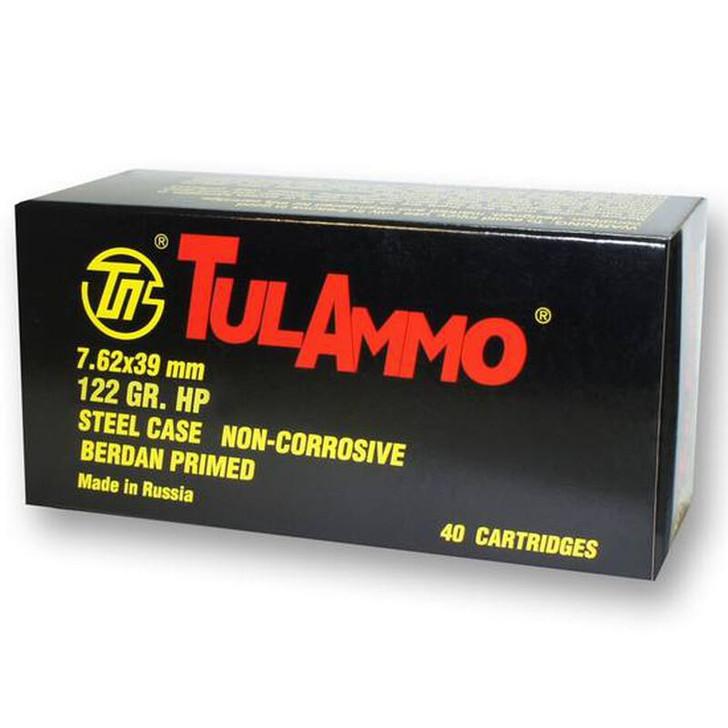 TulAmmo 7.62x39mm Ammuntion 40 Rounds 122 Grain Zinc JHP Steel Cased 2330 fps TLUL076201BX