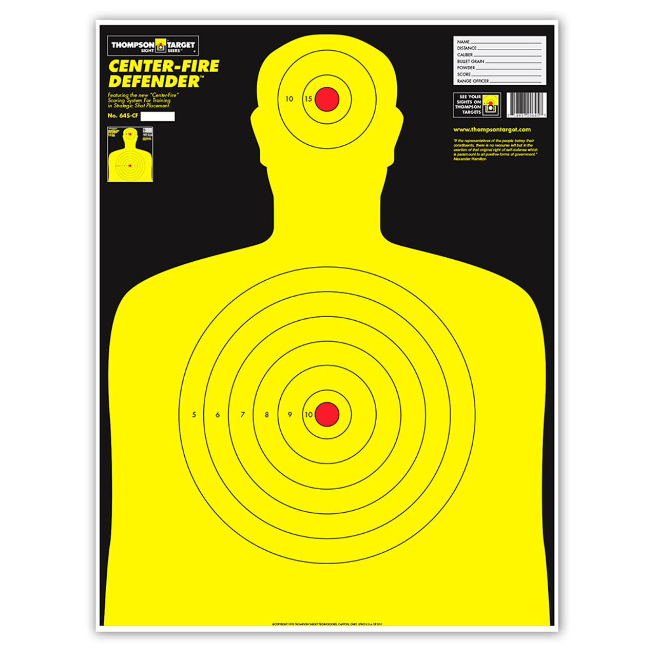 Center-Fire Life Size Silhouette Paper Shooting Targets - 19