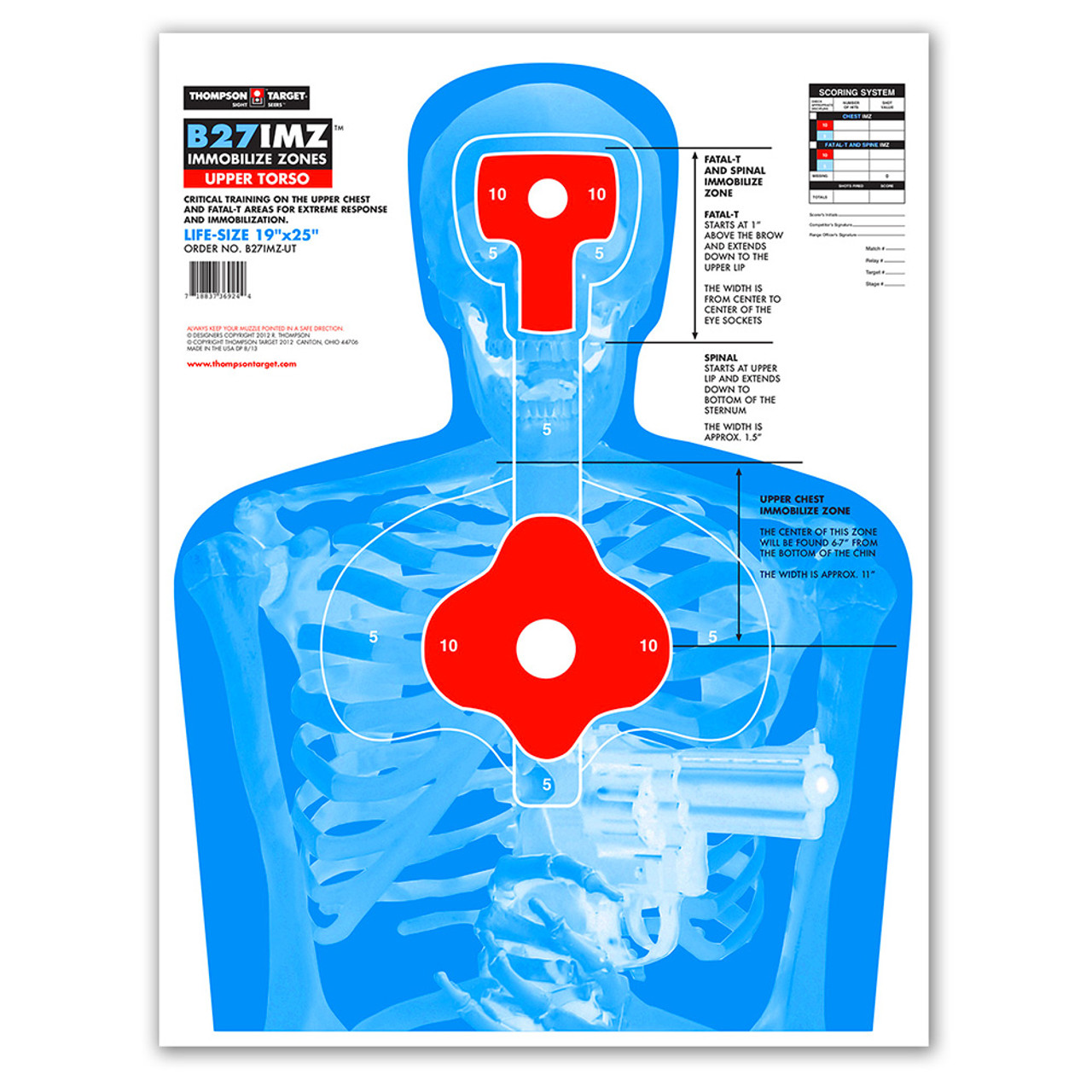 "Thompson TargetB27Q Blue Half-Size 12.5/""x19/"" Human Silhouette Training Target"