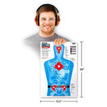 Man holding Thompson Target B27-IMZ Half-Size Silhouette Shooting Target