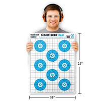 "Man holding Thompson Target Sight-Seer Blu 19""x25"" Paper Shooting Target"