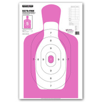 B27Q-PINK Silhouette Law Enforcement & Qualification Handgun Pistol Indoor Gun Range Shooting Targets by Thompson