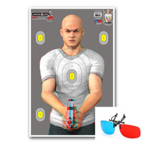 "Thompson Target 3D Bad Guy - Life Size 3D Paper Gun Range Shooting Targets - 25""x38"""