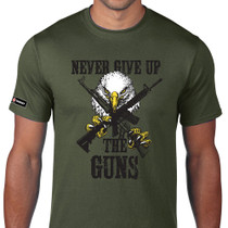 Never Give Up The Guns - Eagle clutching assault rifles second 2nd amendment gun rights t-shirt by Thompson Target
