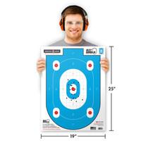 "Man holding Thompson Target B27-Shield 19""x25"" shooting target"
