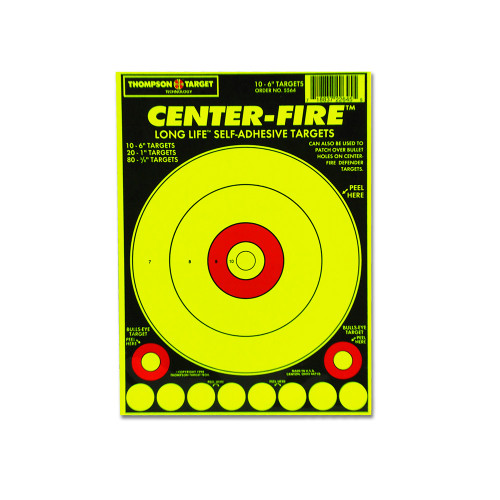 """Center Fire 6""""x9"""" Adhesive Peel & Stick Gun Shooting Targets with pasters by Thompson"""