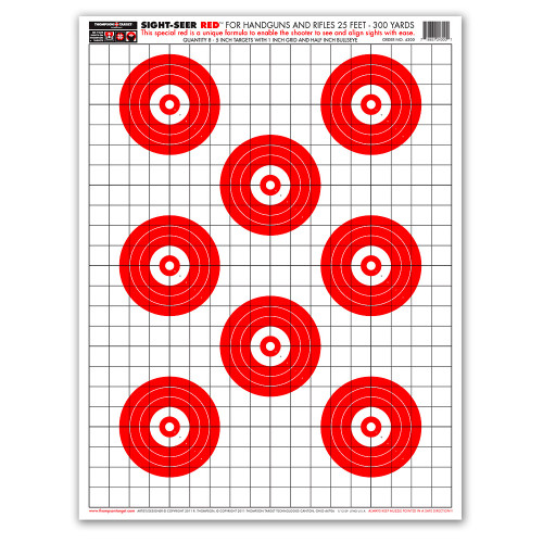 """Sight Seer Red 19""""x25"""" Paper Bullseye Shooting Targets by Thompson"""