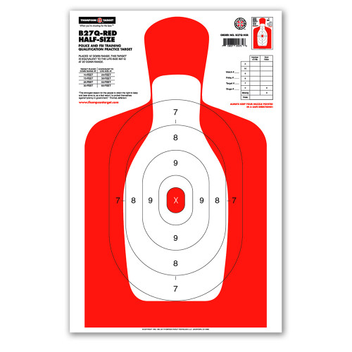 B27Q-HS Red Silhouette Qualification Shooting Targets by Thompson