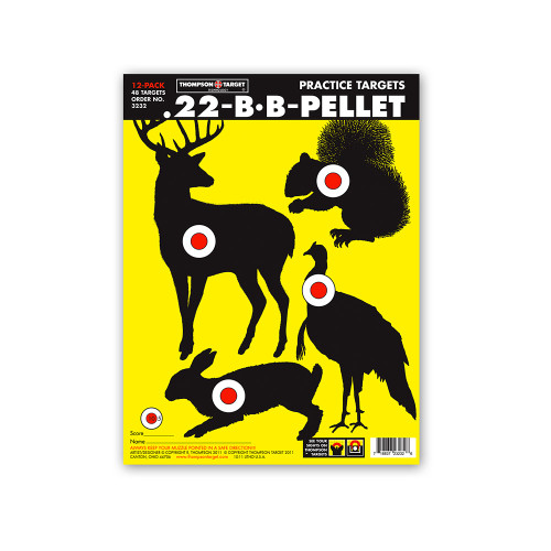 """.22 - BB - Pellet Game Hunting Bright Paper 9""""x12"""" Targets by Thompson"""
