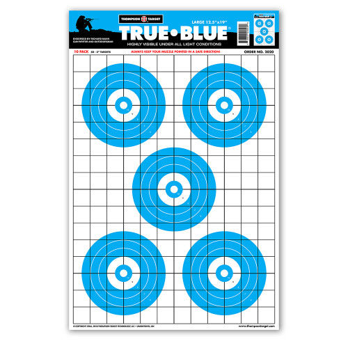 """True Blue High Visibility 12.5""""x19"""" Paper Shooting Targets by Thompson"""