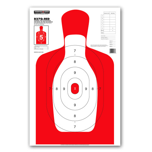 B27Q-RED Silhouette Law Enforcement & Qualification Pistol Handgun Indoor Range Gun Shooting Targets by Thompson
