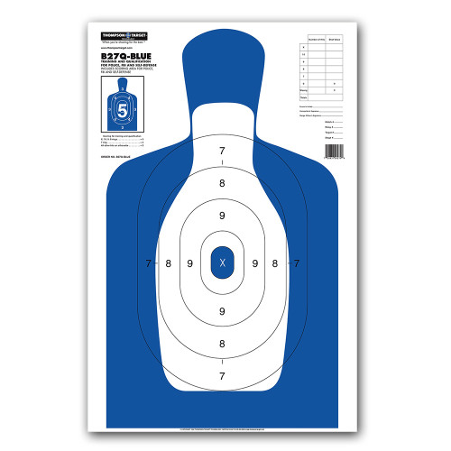 B27Q-BLUE Silhouette Law Enforcement & Qualification Pistol Handgun Indoor Range Gun Shooting Targets by Thompson