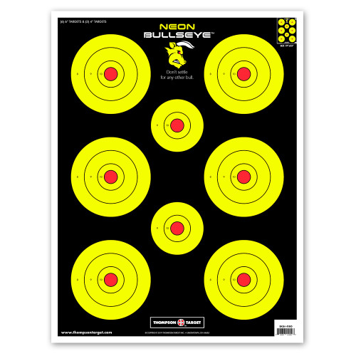 "Neon Bullseye 19""x25"" Paper Bullseye Shooting Targets by Thompson"