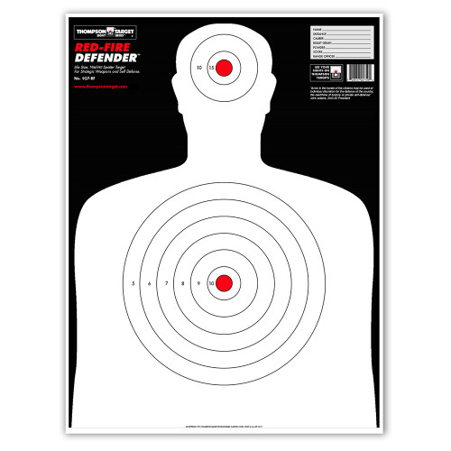 Red-Fire Life Size Human Silhouette Paper Shooting Targets by Thompson
