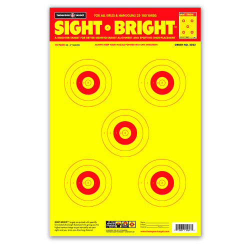 "Sight Bright 12.5""x19"" Paper Bullseye Shooting Targets by Thompson"