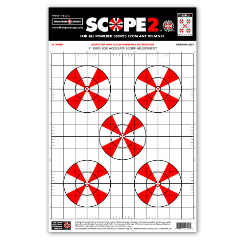 """Scope 2 Sight-In 12.5""""x19"""" Paper Shooting Targets by Thompson"""