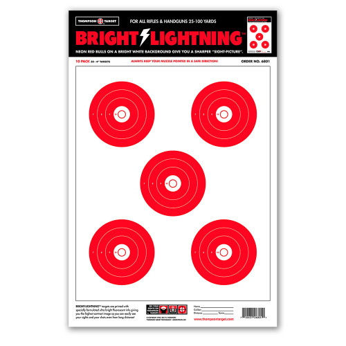 """Bright Lightning 12.5""""x19"""" Ultra Bright Paper Shooting Targets by Thompson"""