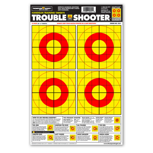 """Trouble-Shooter Handgun Diagnostic 12.5""""x19"""" Paper Shooting Targets by Thompson"""