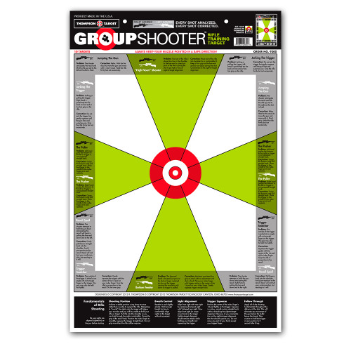 """Group Shooter Rifle Diagnostic 12.5""""x19"""" Paper Shooting Targets by Thompson"""