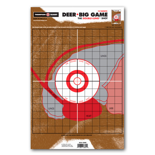 """Life Size Deer Vitals Targets 12.5""""x19"""" Paper Hunting/Shooting by Thompson"""