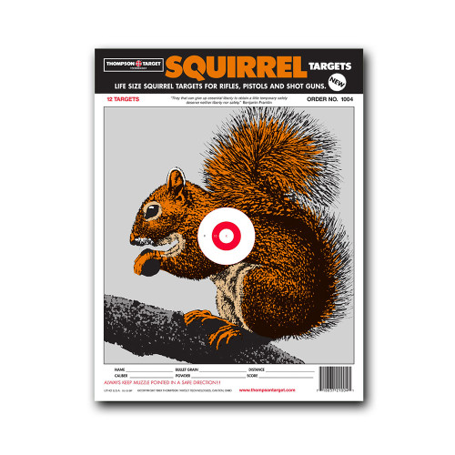 """Life-Size Squirrel 9""""x12"""" Paper Shooting Targets by Thompson"""