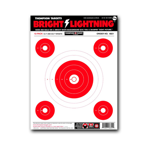 "Bright Lightning 9""x12"" Paper Bullseye Shooting Targets by Thompson"