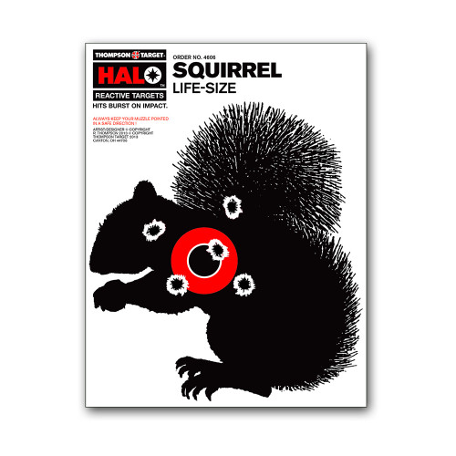 HALO Squirrel Silhouette Reactive Splatter Gun Shooting Hunting Targets by Thompson