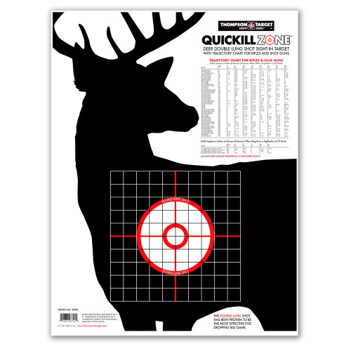 Deer Silhouette Quick Kill Zone Hunting Targets with trajectory chart by Thompson