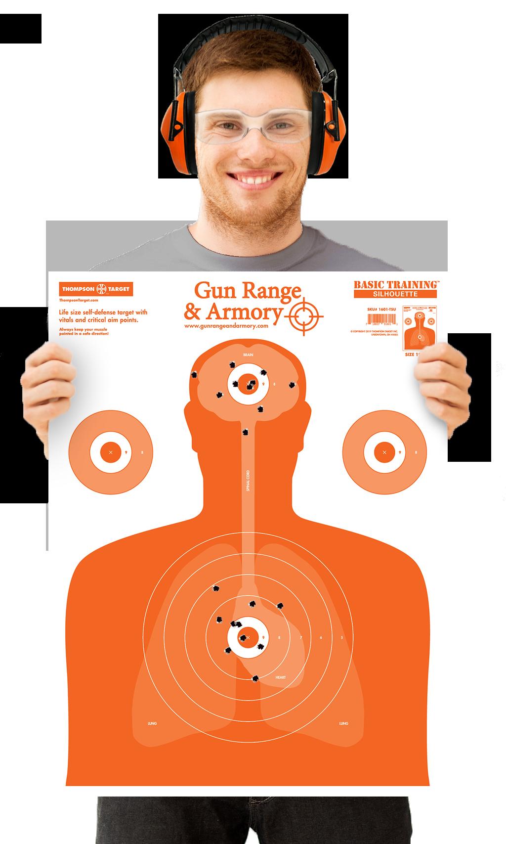 Man Holding Silhouette Shooting Target