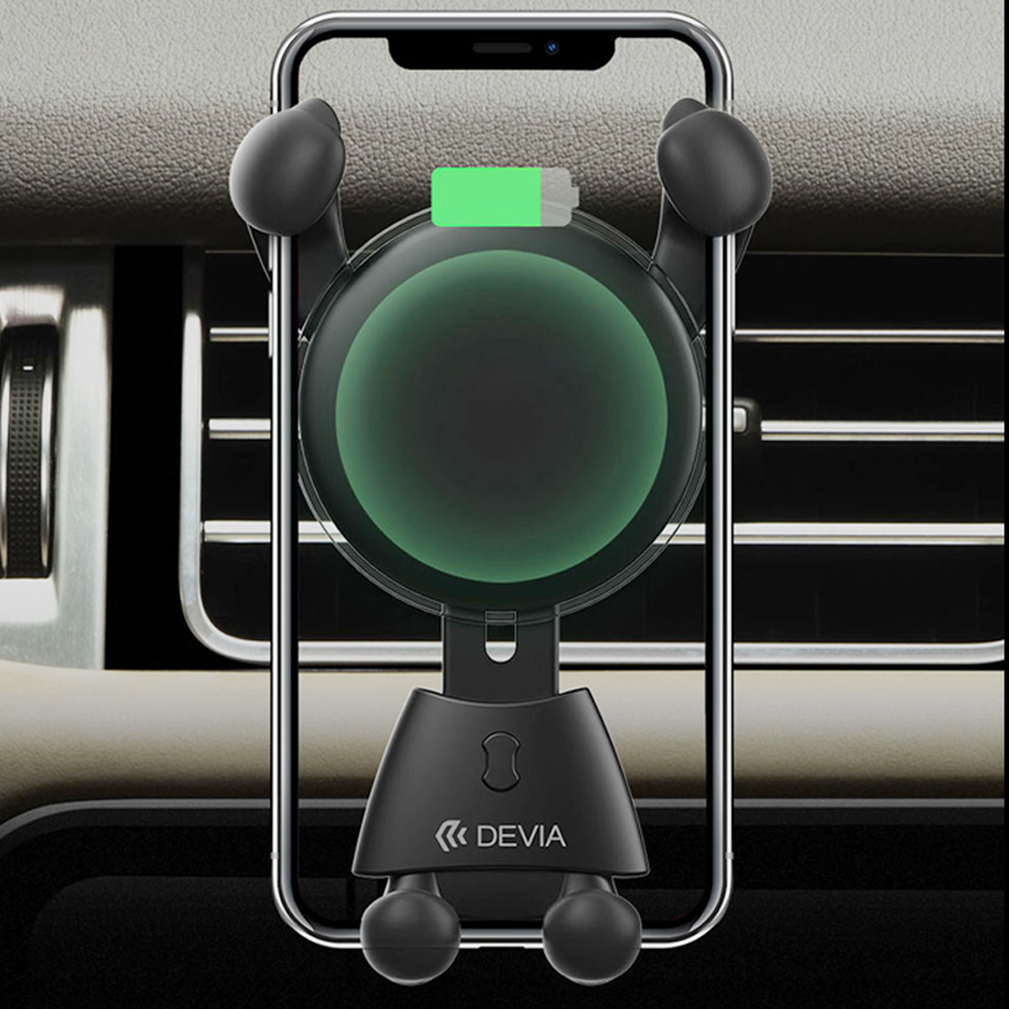 Smart Series Wireless Quick Charger Car Mount , Gravity Auto Lock