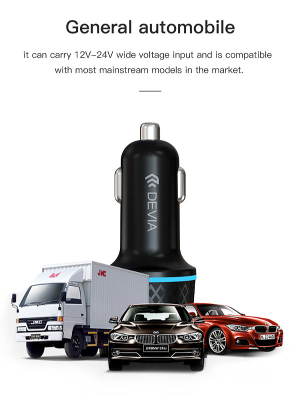 Devia Extreme Speed Series Power Plug Adapter PD+QC Quick Car Charger Fast Charging Dual Socket USB + Type C 42.5W