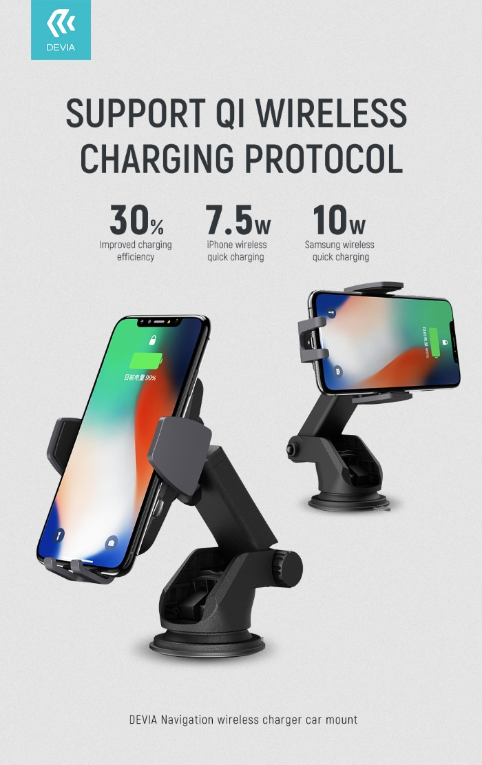 Devia Navigation Magnetic Stand Car Auto Clamping 360 Degree Full Rotation Fast Wireless Charger 10W/7.5W