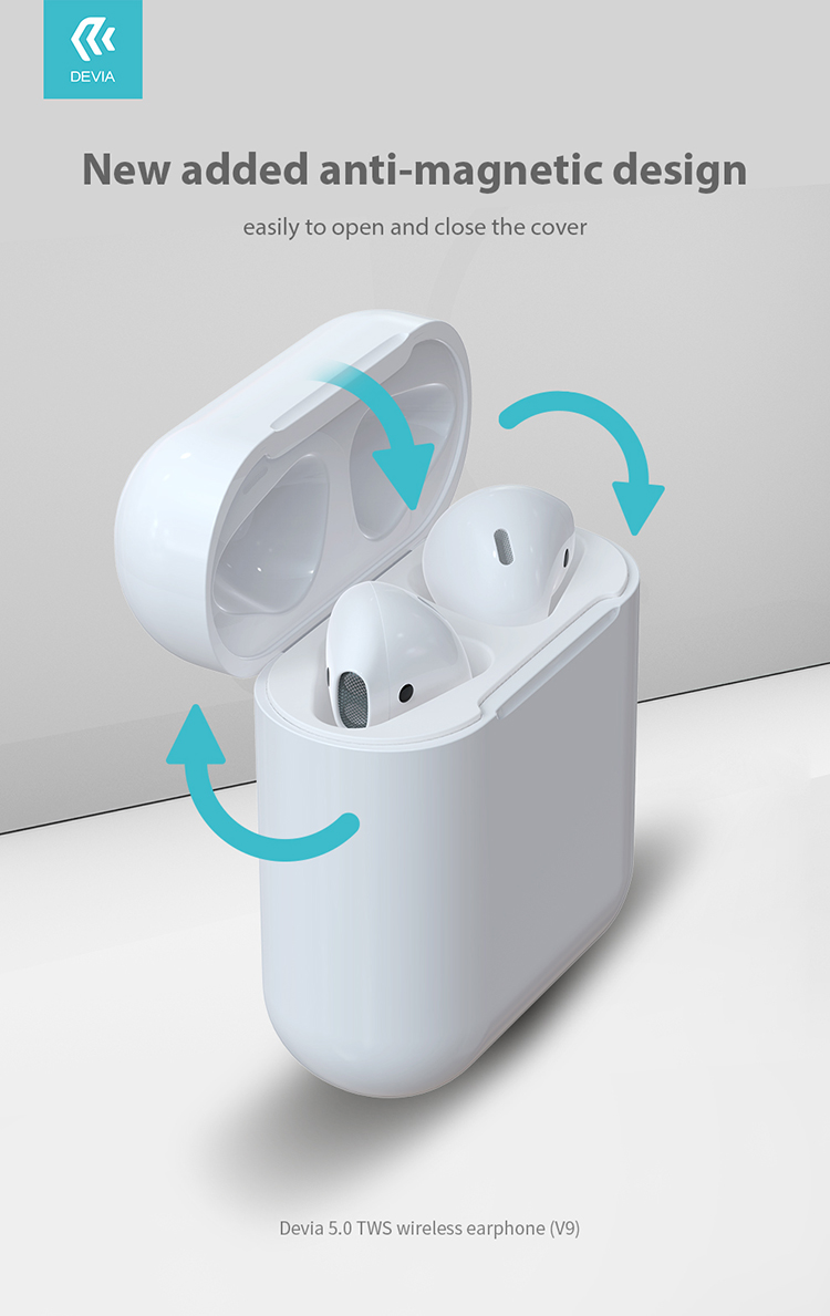 Devia Wireless Bluetooth Earphone AirPod V9, Enjoy your time to listening music for 3 hours or talking for 4 hours, connect automatically when open bin cover. Auto Primary and secondary switch with durable battery life