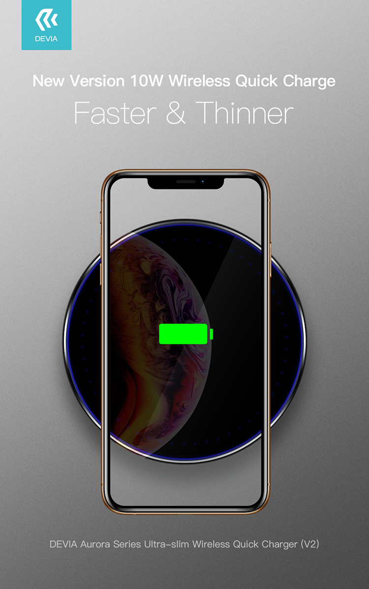 Devia Ultra-Slim Wireless Charger Somatology design, easily carried on the go for convenient wireless charging. No more wires fuss.