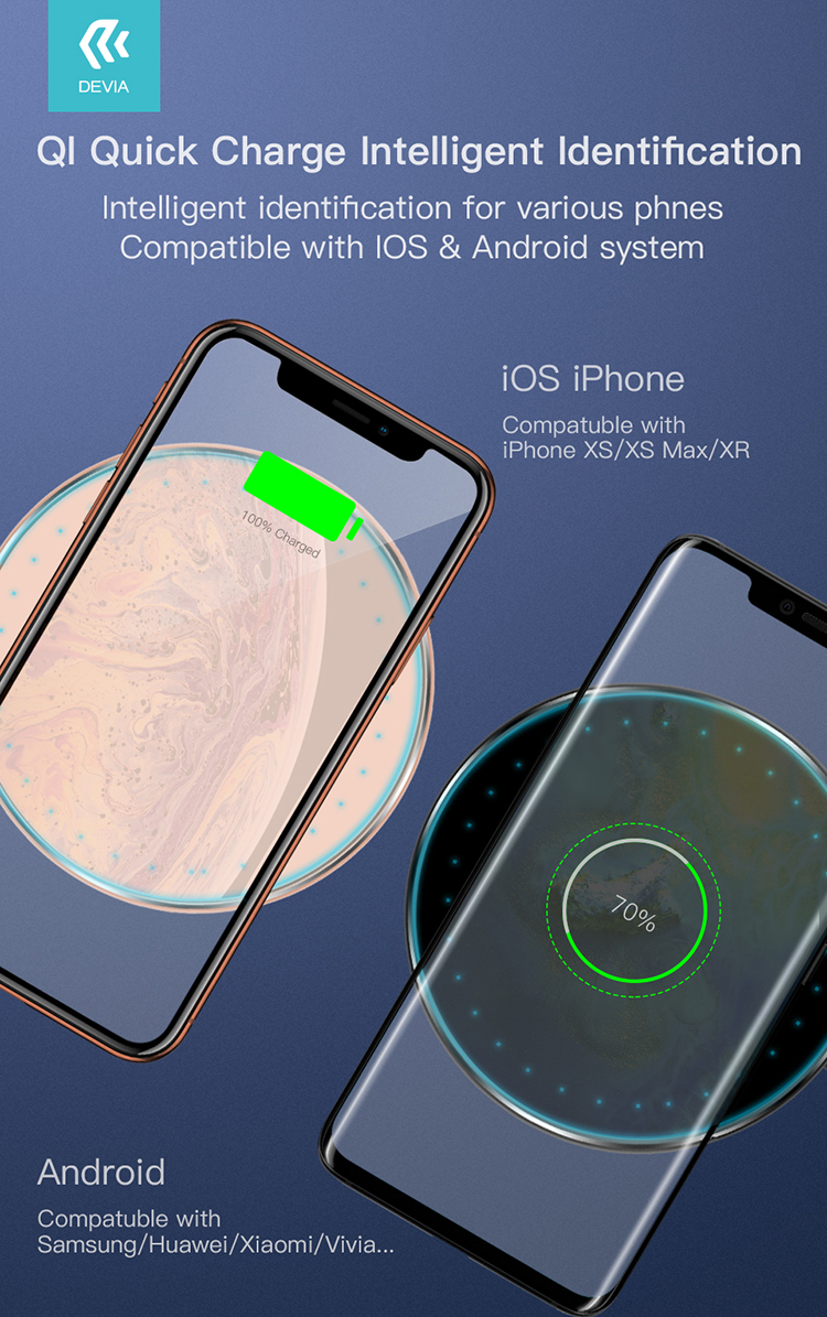 Devia Aurora Series Ultra-Slim Wireless Charger Somatology design, easily carried on the go for convenient wireless charging. No more wires fuss.