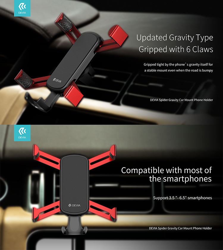 Spider Gravity Car Air Vent Phone Holder can hold phone firmly while driving and place within reach of your arm, concentrate on road with minimal distraction.