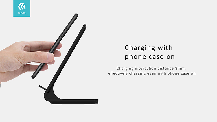Pioneer Series Wireless Charging Stand-Black, great space-saving way to charge your Qi-enabled smartphone at your desk, office or at home