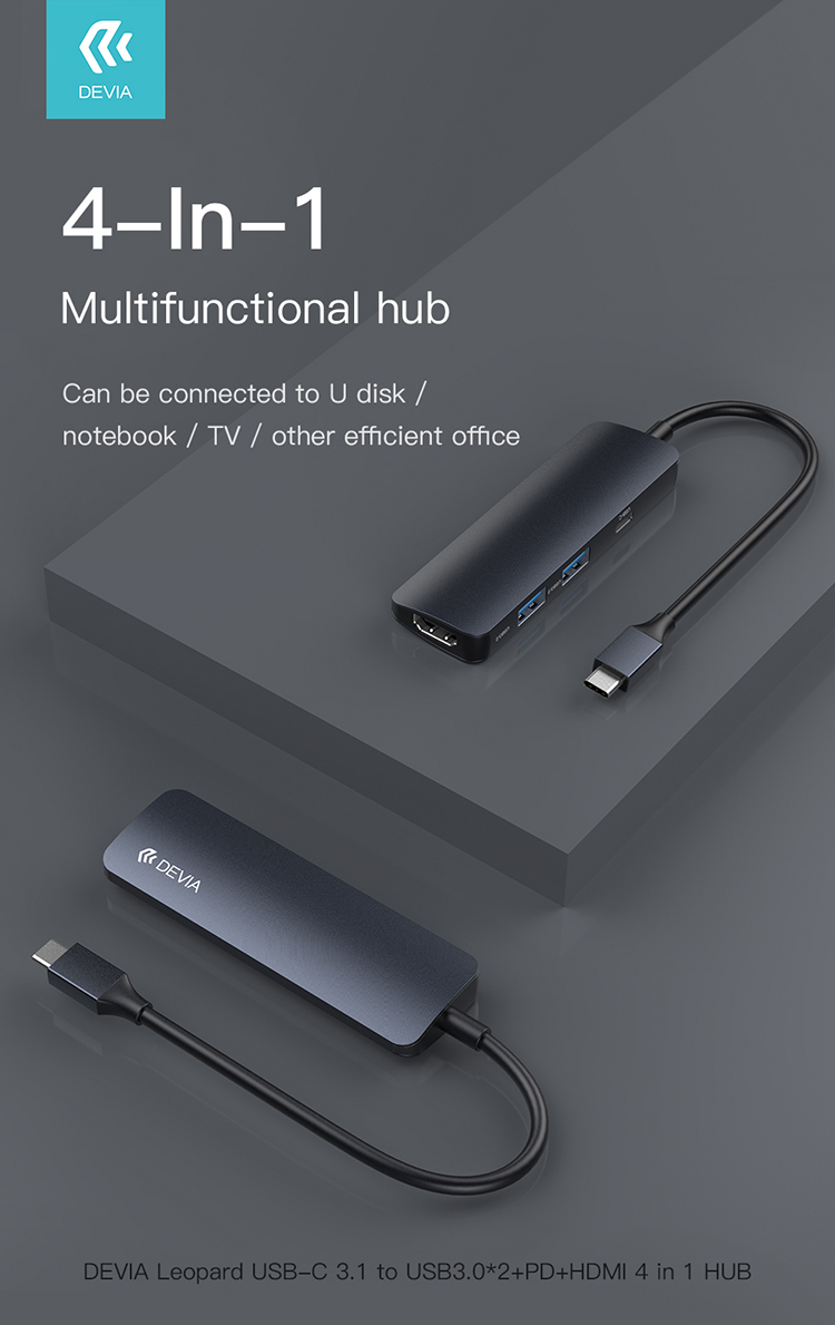 Leopard Hub 4 in 1 From type-c to hdmi 2 x usb pd, Portable and light weight, Compact design, Easily expand your USB C devices and fulfill your daily use