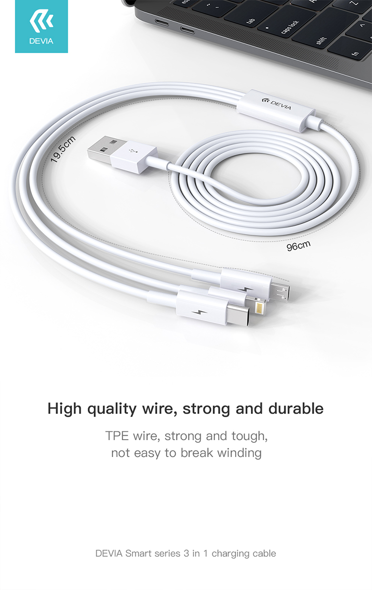 Smart 3 in 1 Charging Cable, Has 3 charging port compatible MOST smart phones & tablets, making it a ideal portable choice to everywhere