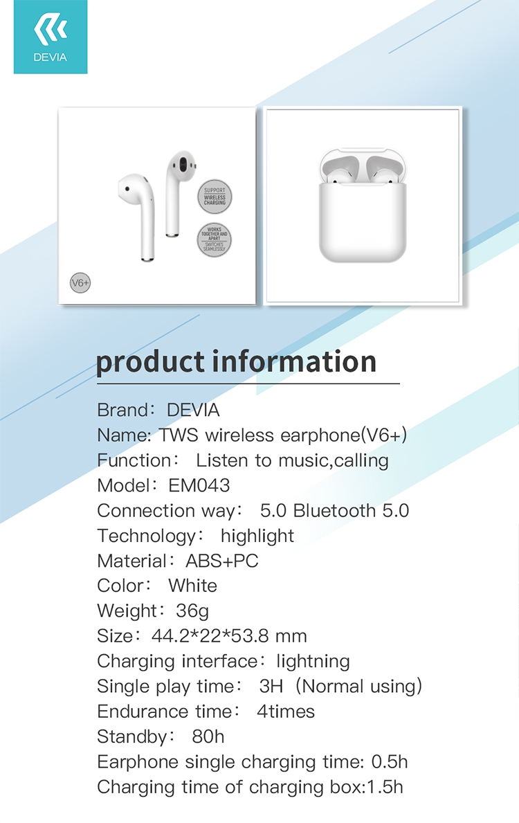 Bluetooth AirPod With Wireless Charging V6+, The quality and reality sound is what we are keen at Devia Canada to provide our customers