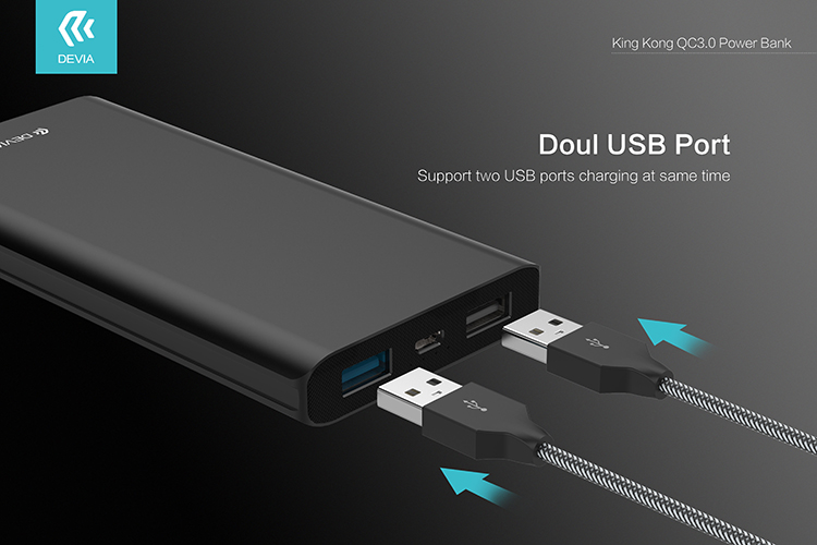 King Kong QC3.0 Power Bank, easy to carry anywhere, Light weight, Portable with large capacity. No more worry about phone battery dead