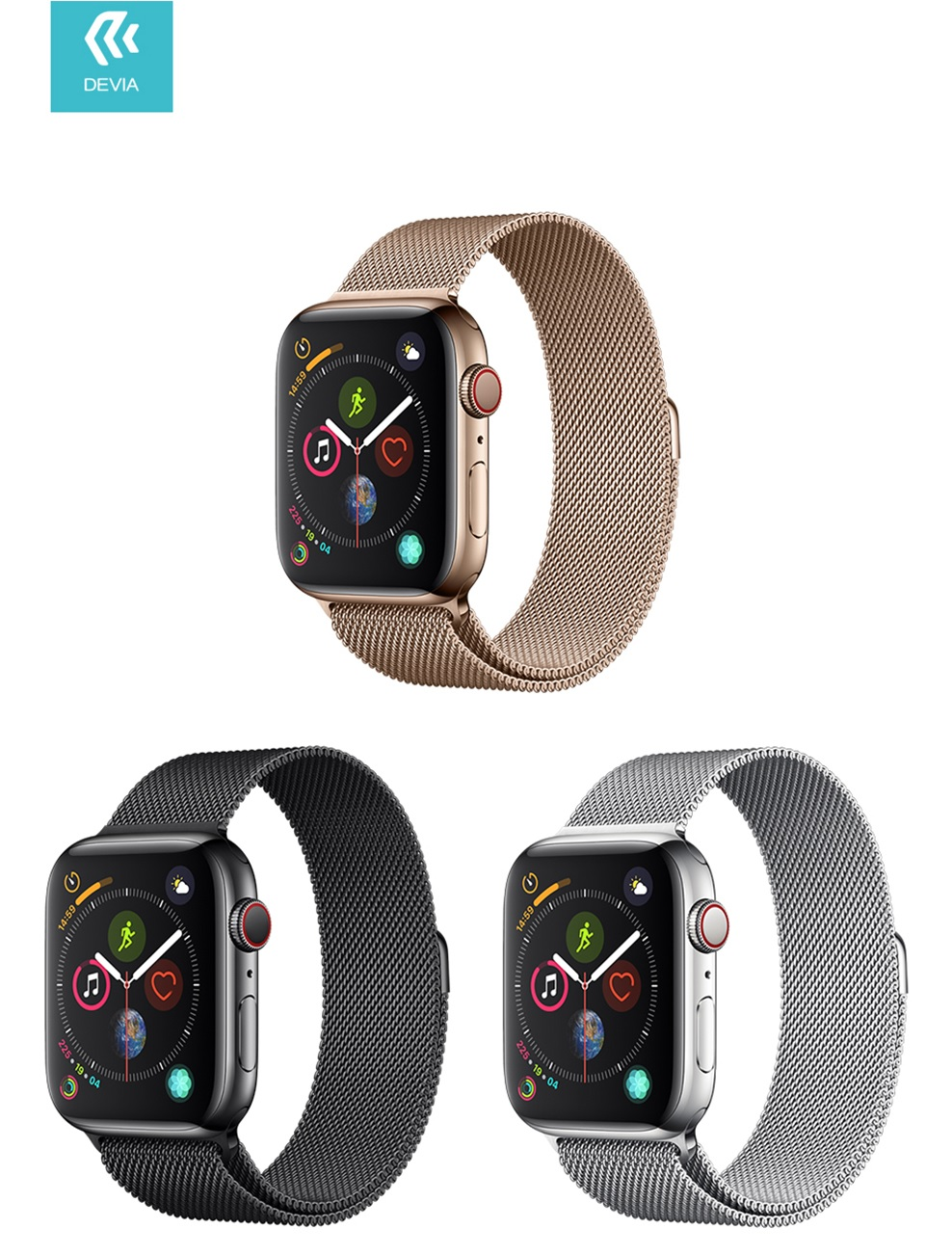 This premium A brand watch strap, suitable for the Apple Watch / Apple iWatch, The Devia strap is strong and good. A quality product. This watch strap is made of high-quality metal and sturdy material. You simply install the strap by sliding it into your Apple Watch and then it is well secured.