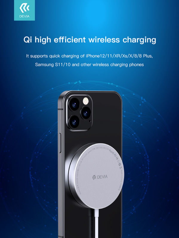 Devia Magnetic Wireless Charger, Support Qi Charging