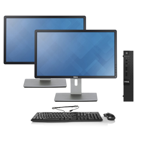 Dell OptiPlex 9020 Micro Desktop - Intel Core i7-4785T, 8GB RAM, 128GB SSD | Dual Monitor Package