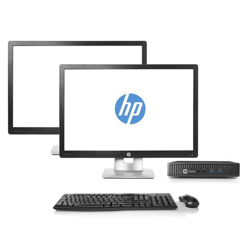 Refurbished HP ProDesk 600 G1 Desktop Mini Dual Monitor Package | Recompute