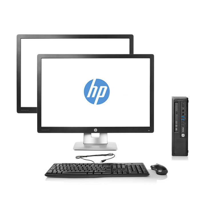 Refurbished HP EliteDesk 800 G1 Desktop USFF | Recompute Dual Monitor Package